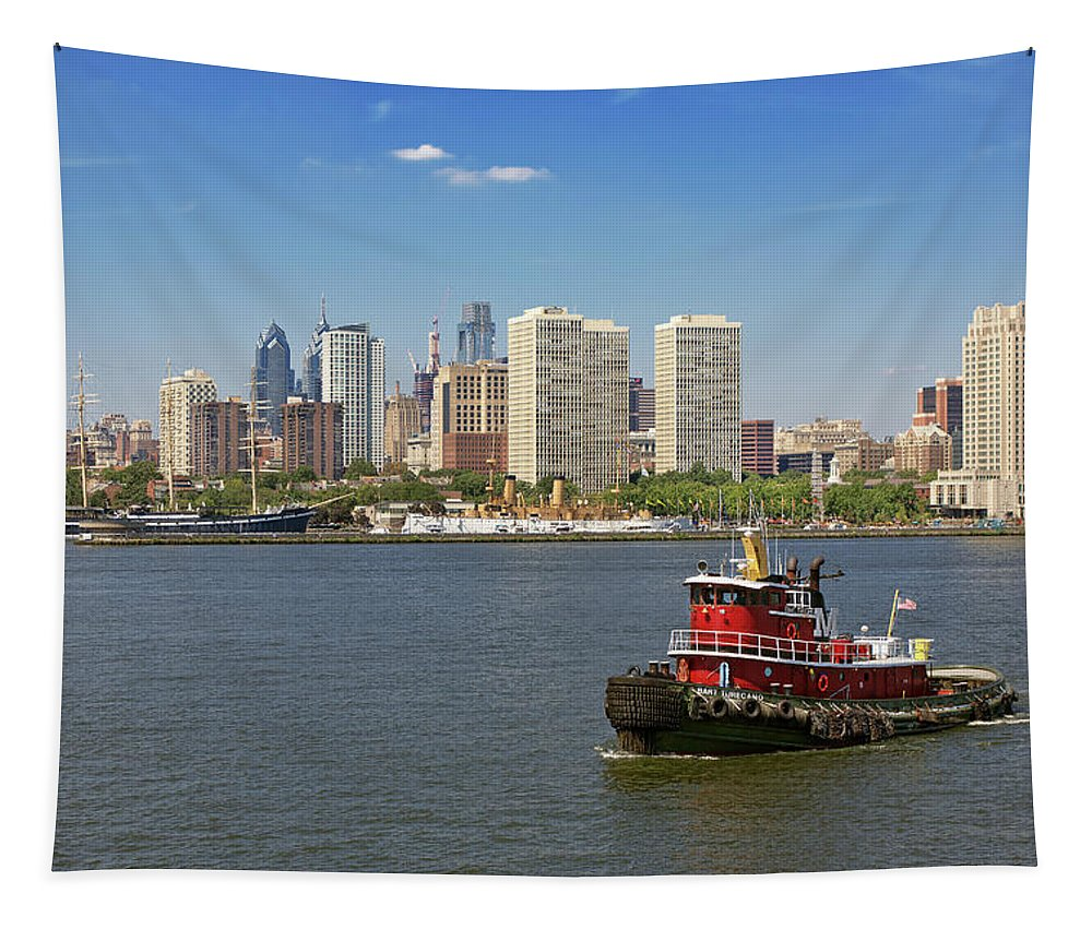 City Tapestry featuring the photograph City - Camden Nj - The City Of Philadelphia by Mike Savad