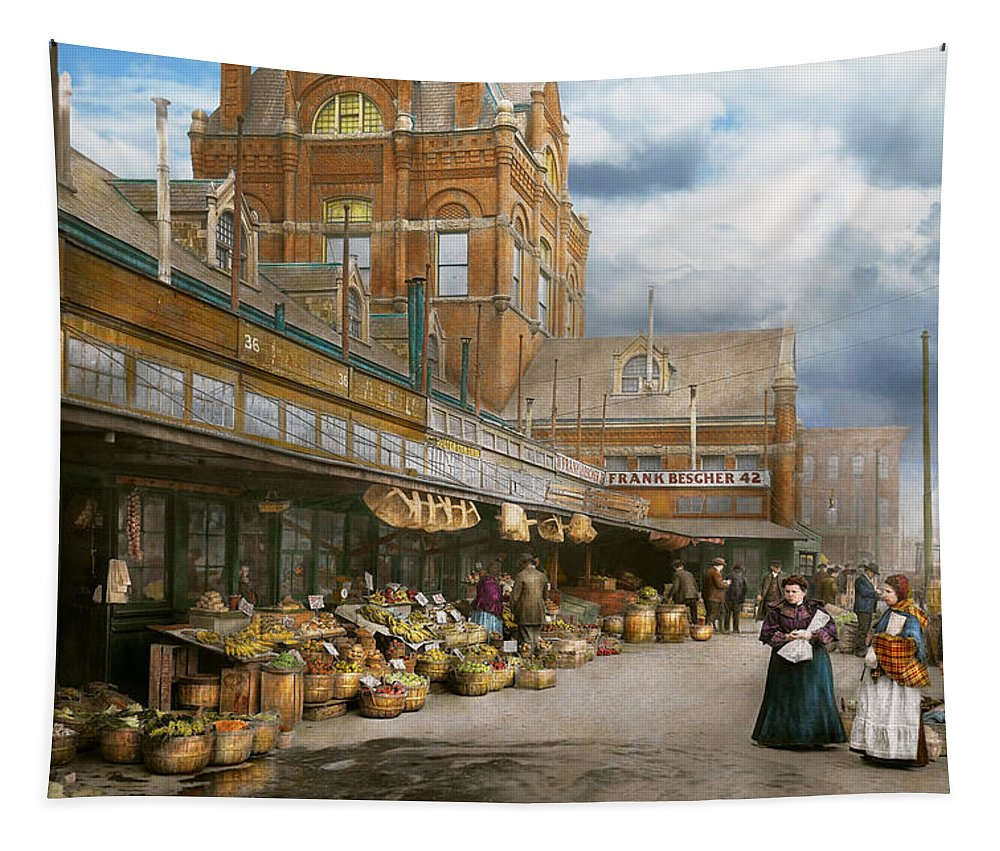 Self Tapestry featuring the photograph City - Kansas City Farmers Market - 1906 by Mike Savad