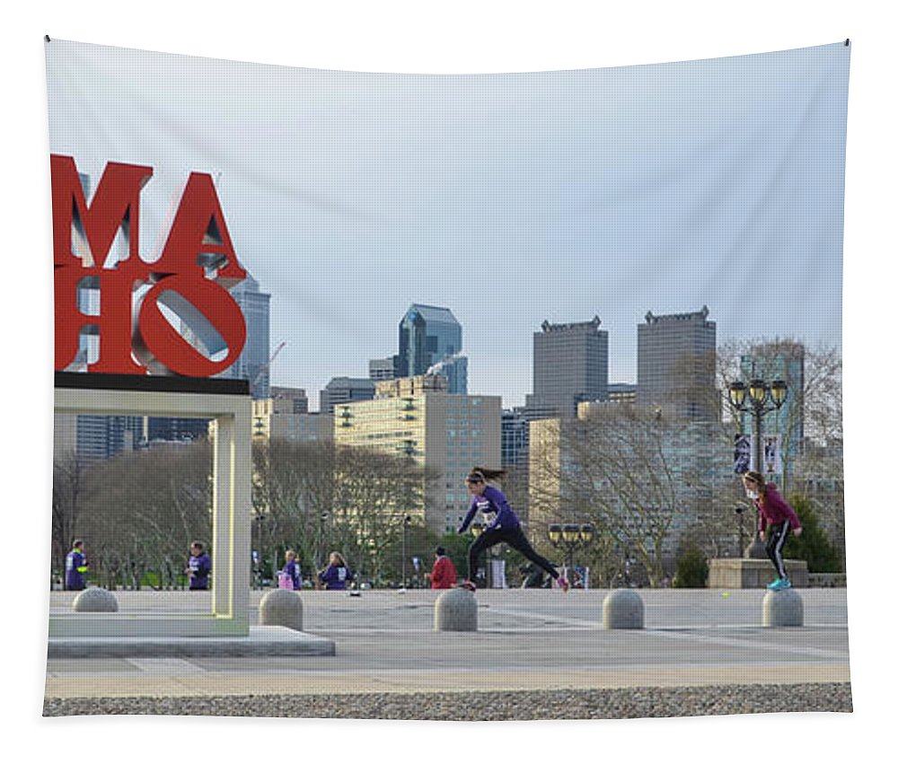 Exercizing Tapestry featuring the photograph City Life - The Philadelphia Art Museum by Bill Cannon