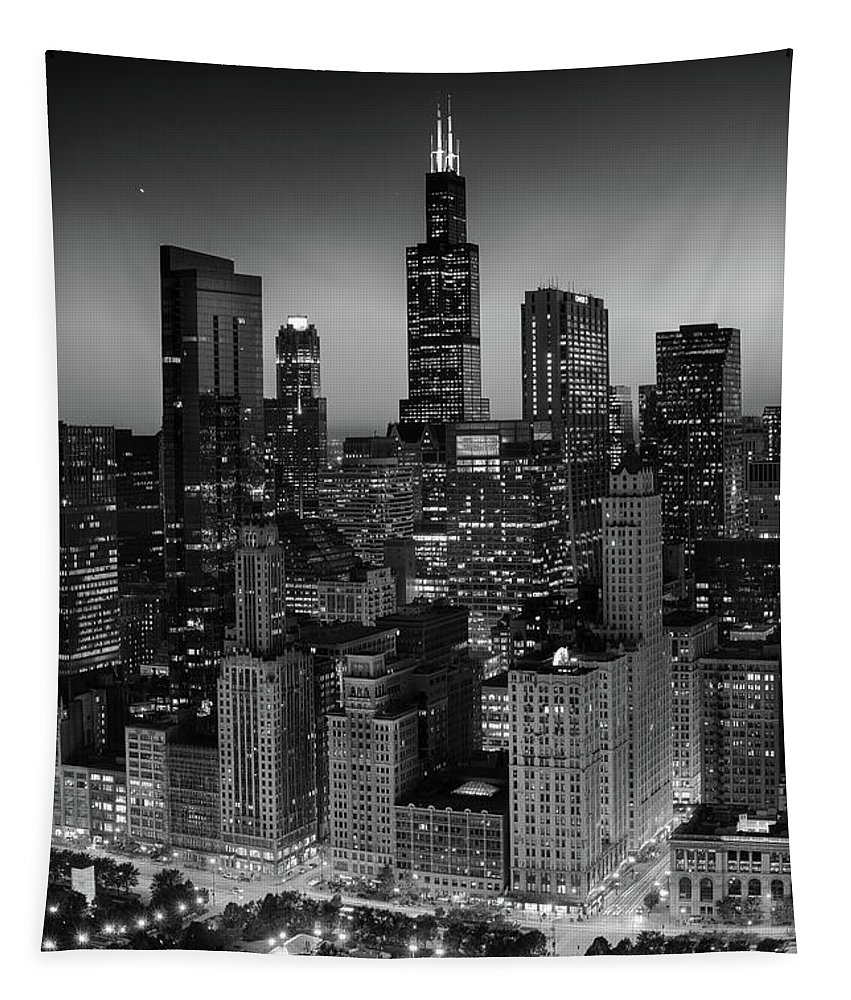 Chicago Tapestry featuring the photograph City Light Chicago B W by Steve Gadomski
