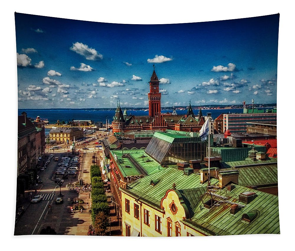 Cityscape Tapestry featuring the photograph City Of Helsingborg by Ramon Martinez
