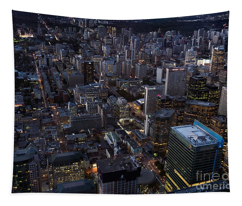 Toronto Tapestry featuring the photograph City Of Toronto Downtown After Sunset by Oleksiy Maksymenko