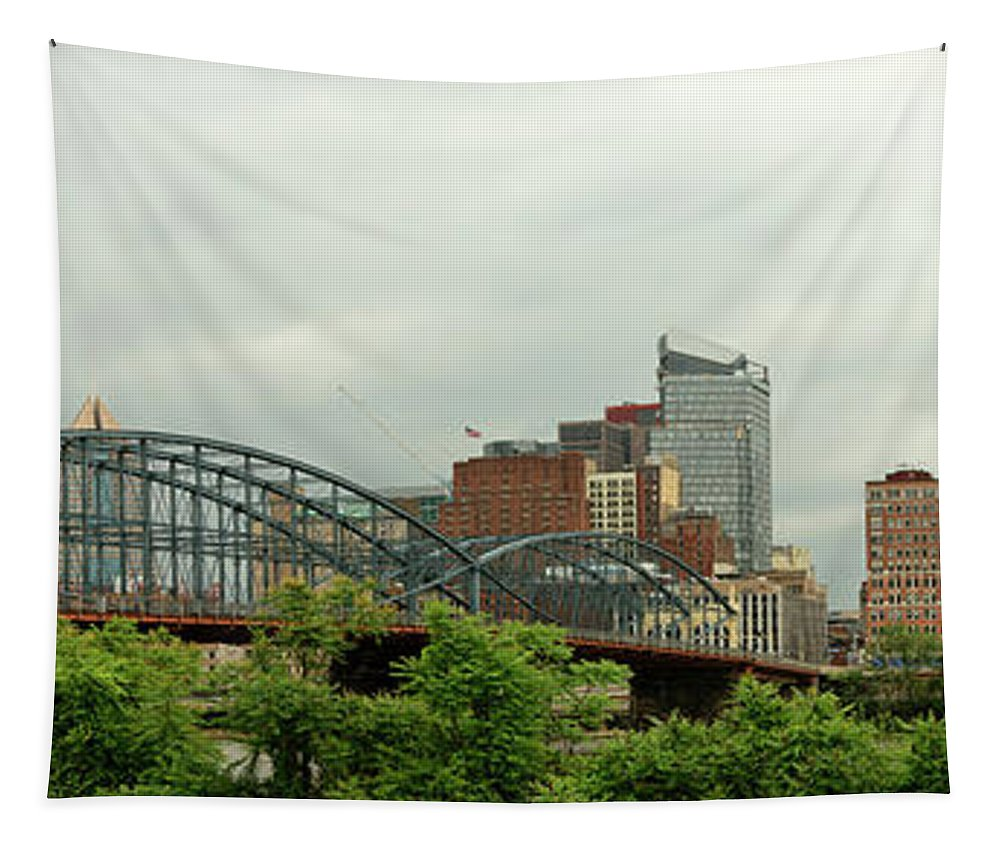Pittsburgh Tapestry featuring the photograph City - Pittsburgh Pa - The Grand City Of Pittsburg by Mike Savad