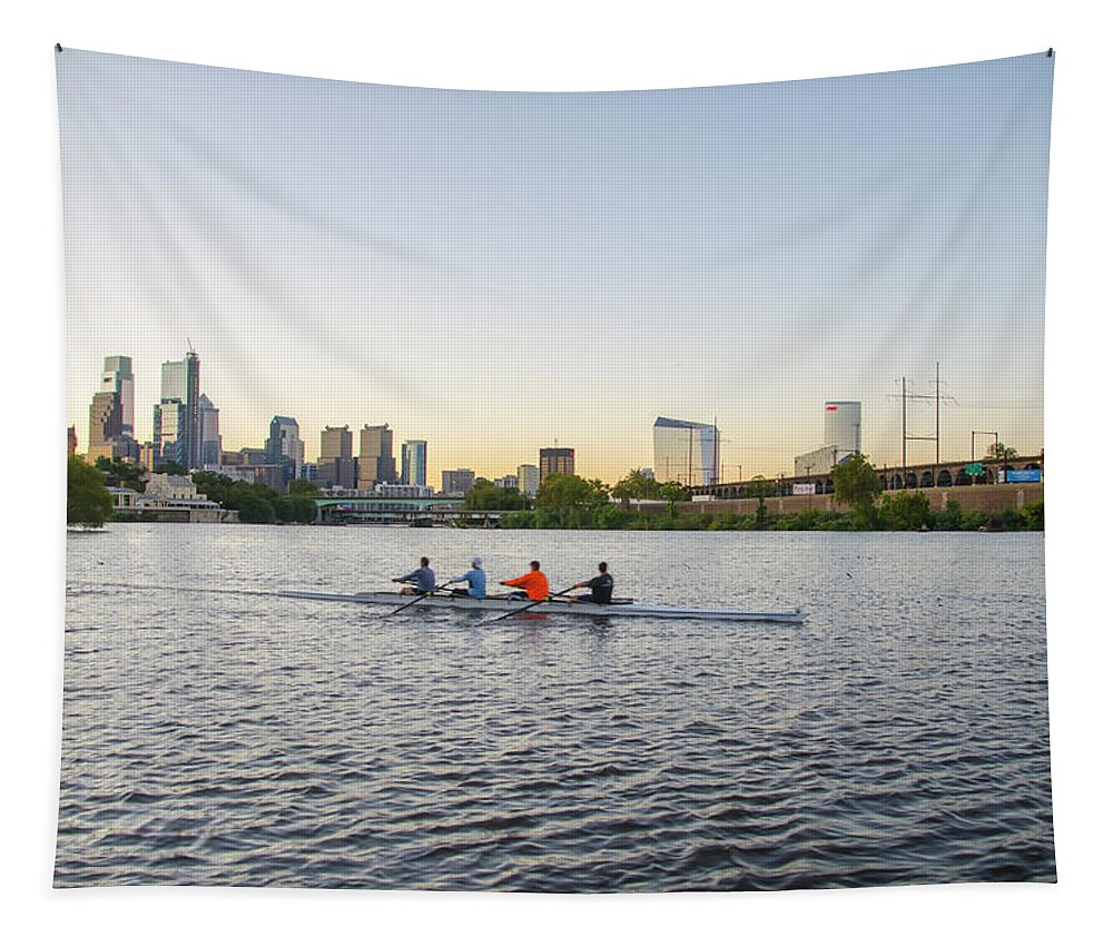 City Tapestry featuring the photograph City Skyline - Philadelphia On The Schuylkill River by Bill Cannon