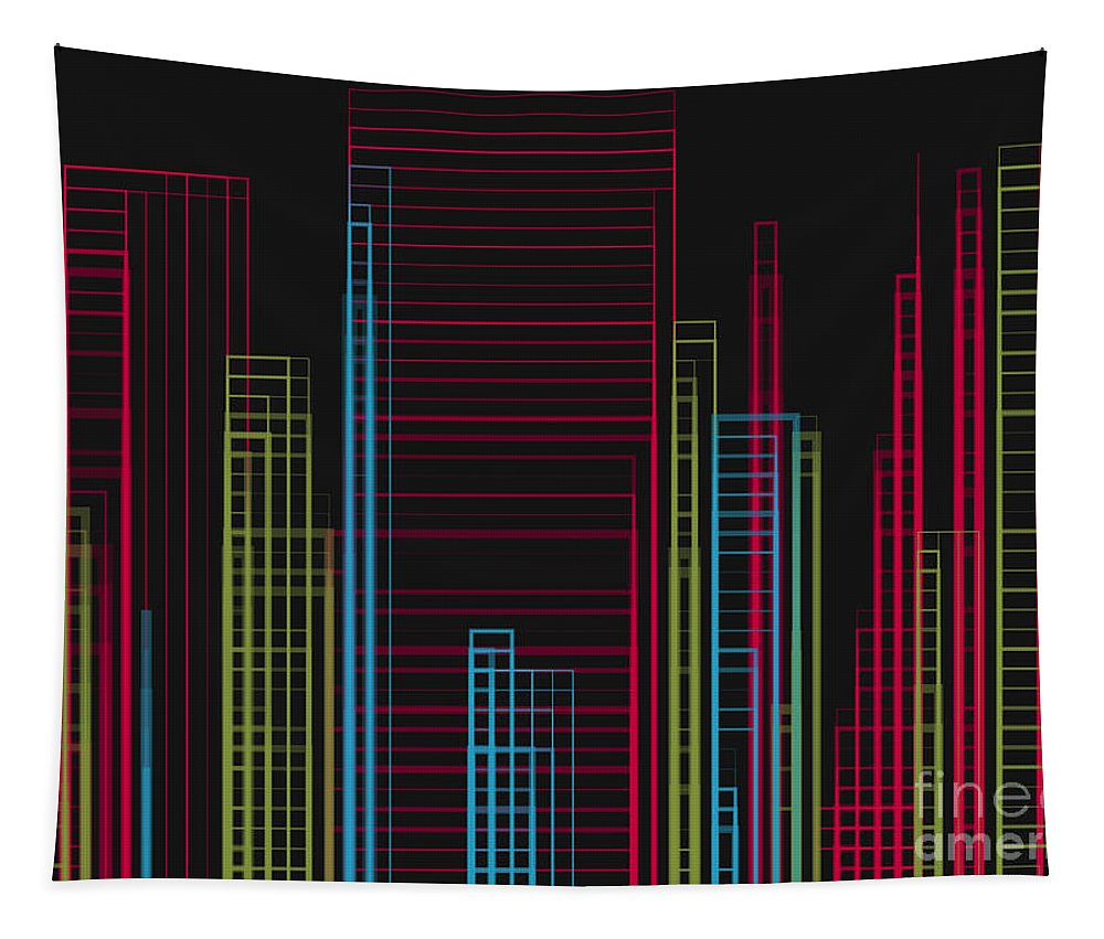 City Skyline Tapestry featuring the digital art City Slicker by Barefoot Bodeez Art