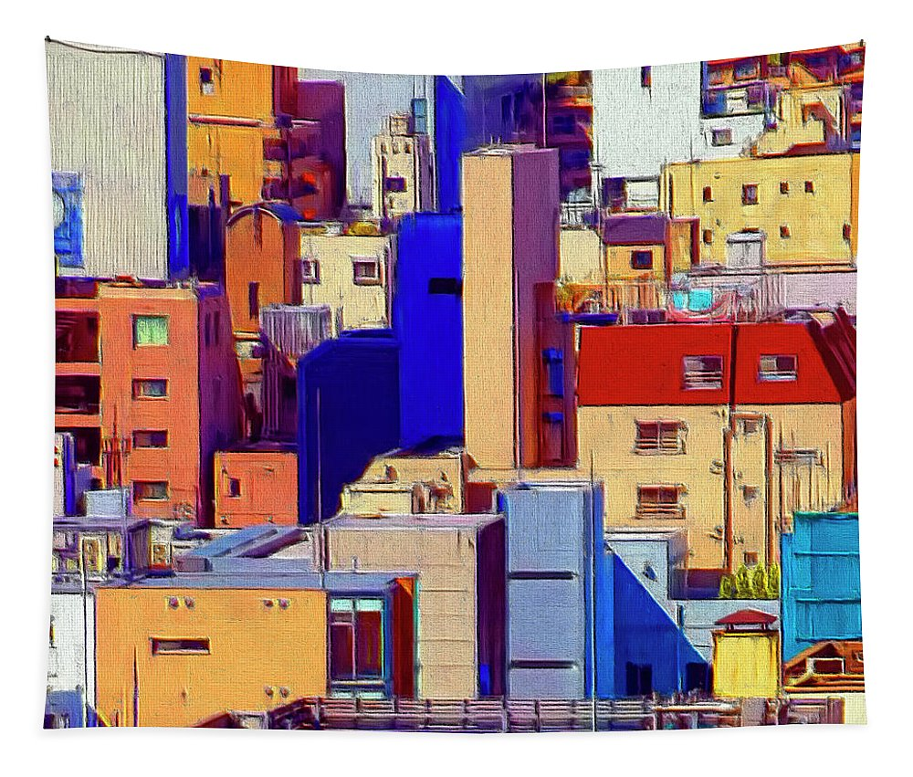 Cityscape Tapestry featuring the painting Cityscape by Dominic Piperata