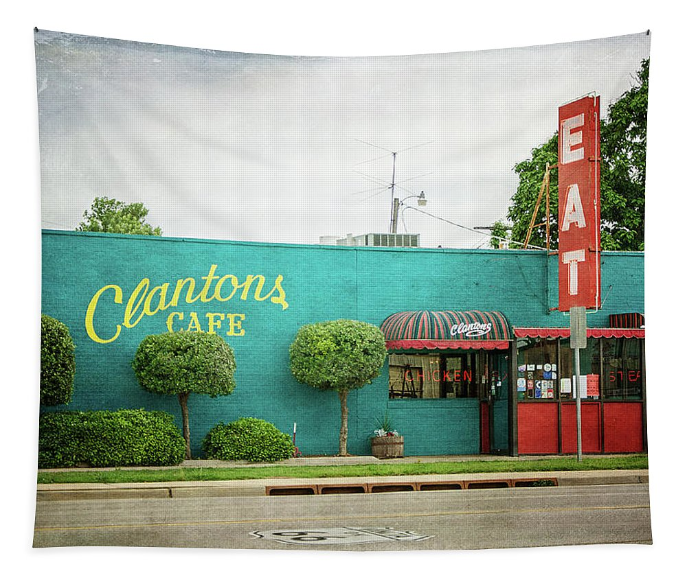 Clanton's Cafe Tapestry featuring the photograph Clanton's Cafe by Susan McMenamin