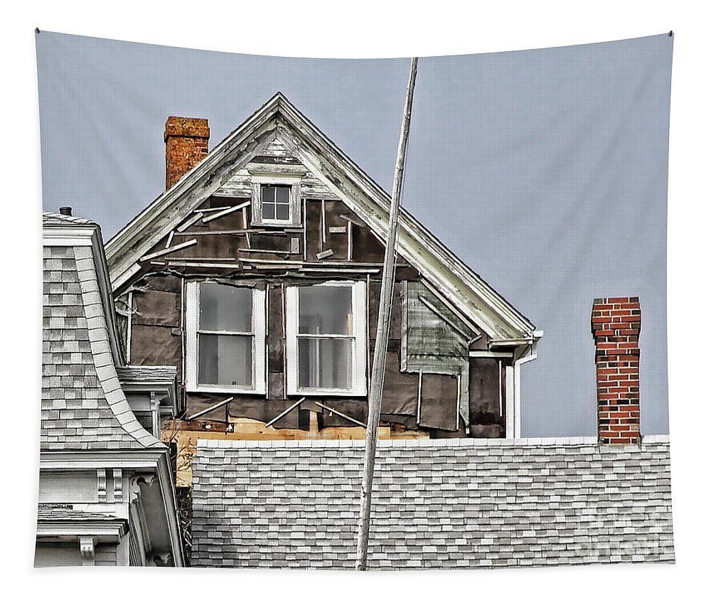 Maine Tapestry featuring the photograph Clapboards And Tar Paper by Laura Mace Rand