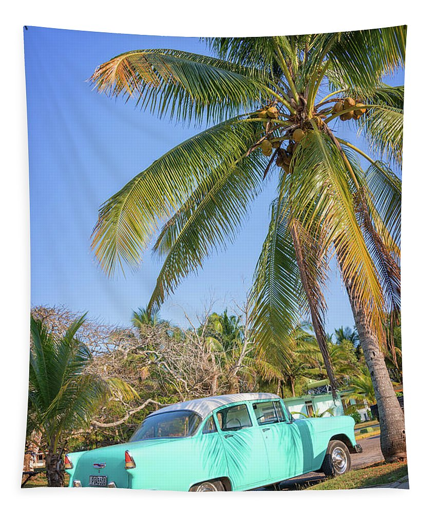Cuba Tapestry featuring the photograph Classic Car In Playa Larga by Delphimages Photo Creations