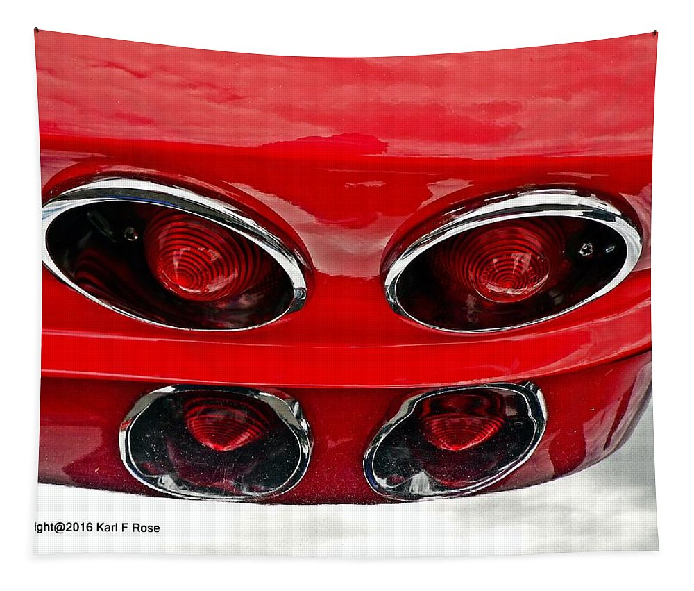 Cars Tapestry featuring the photograph Classic Car Tail Lights Reflection by Karl Rose