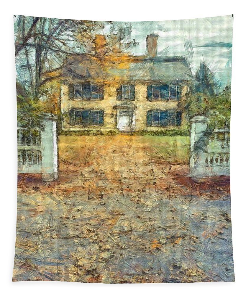 Pencil Tapestry featuring the photograph Classic Colonial Home In Autumn Pencil by Edward Fielding
