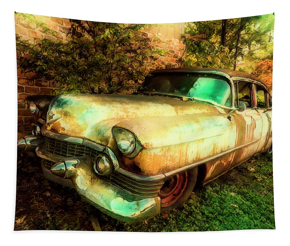 American Tapestry featuring the photograph Classic Country Cadillac Painting by Debra and Dave Vanderlaan