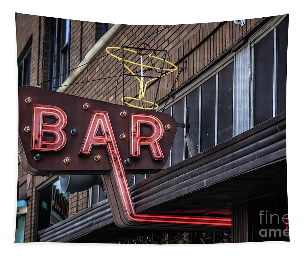 Livingston Tapestry featuring the photograph Classic Neon Sign For A Bar Livingston Montana by Edward Fielding