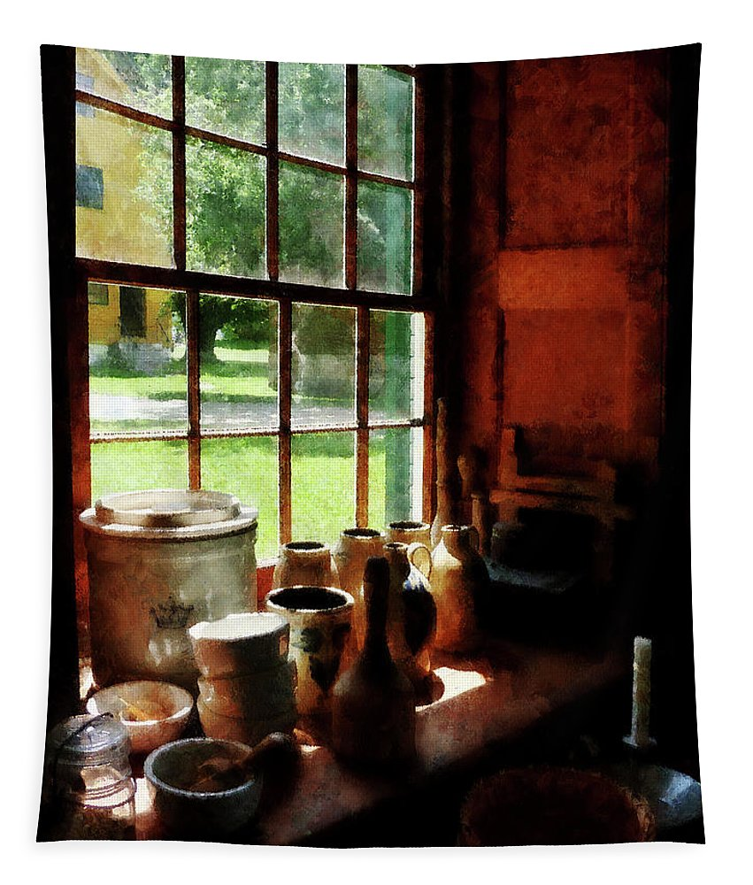 Jars Tapestry featuring the photograph Clay Jars On Windowsill by Susan Savad