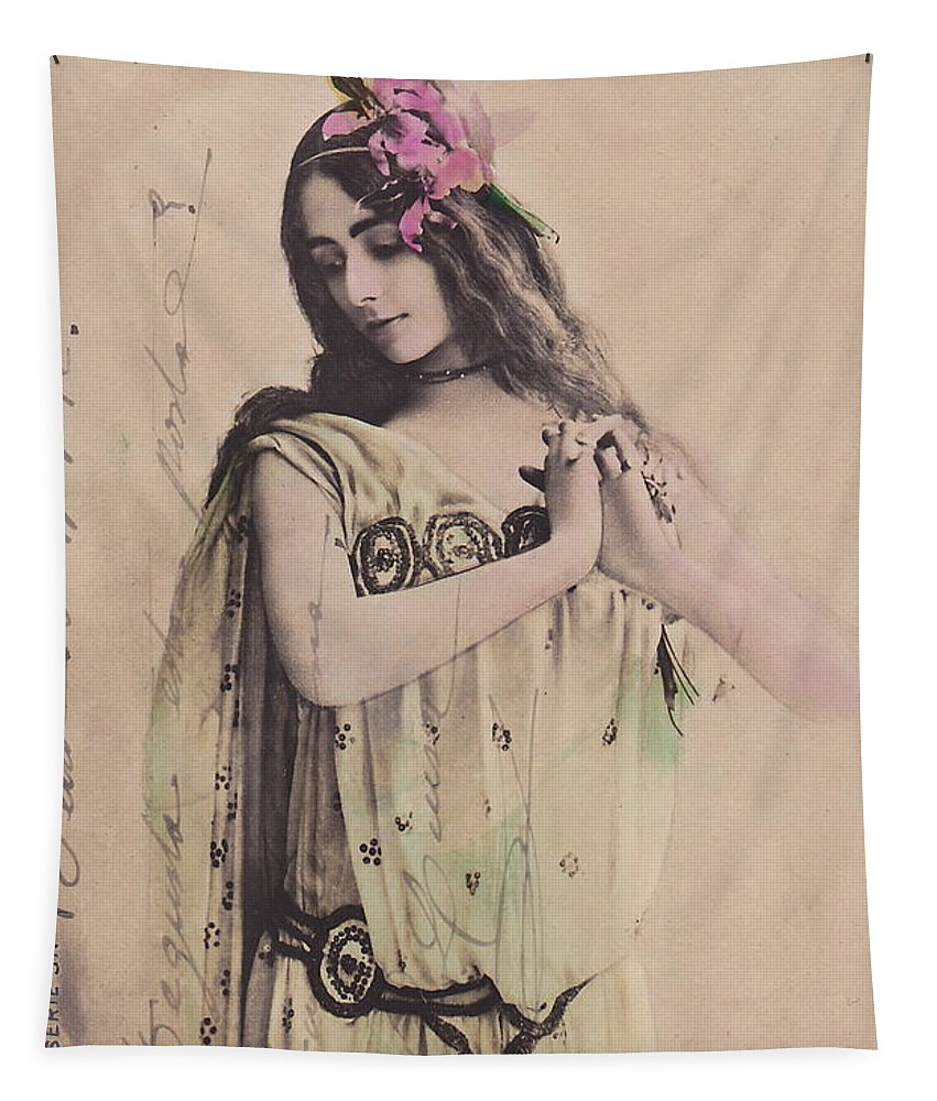 Cleo Tapestry featuring the photograph Cleo De Merode by Reutlingers