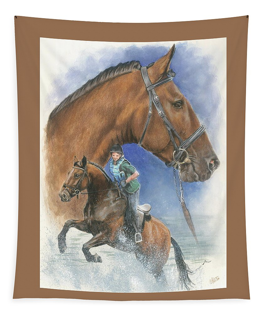 Hunter Jumper Tapestry featuring the mixed media Cleveland Bay by Barbara Keith