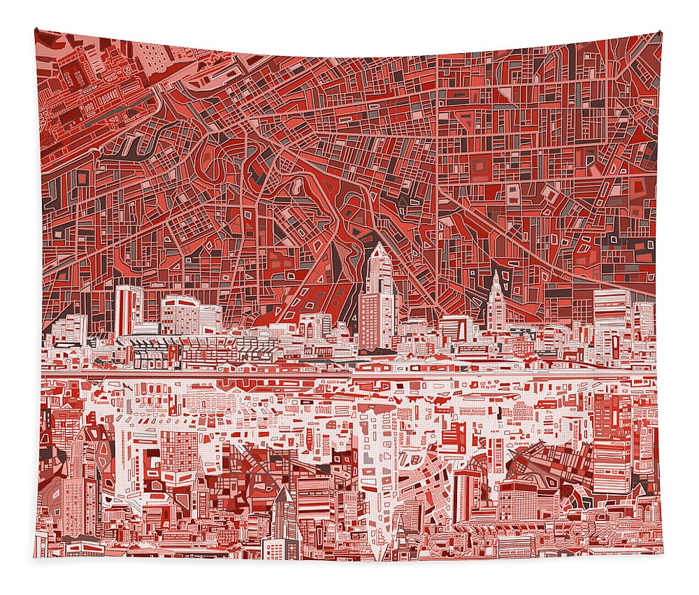 Cleveland Skyline Tapestry featuring the painting Cleveland Skyline Abstract 10 by Bekim Art
