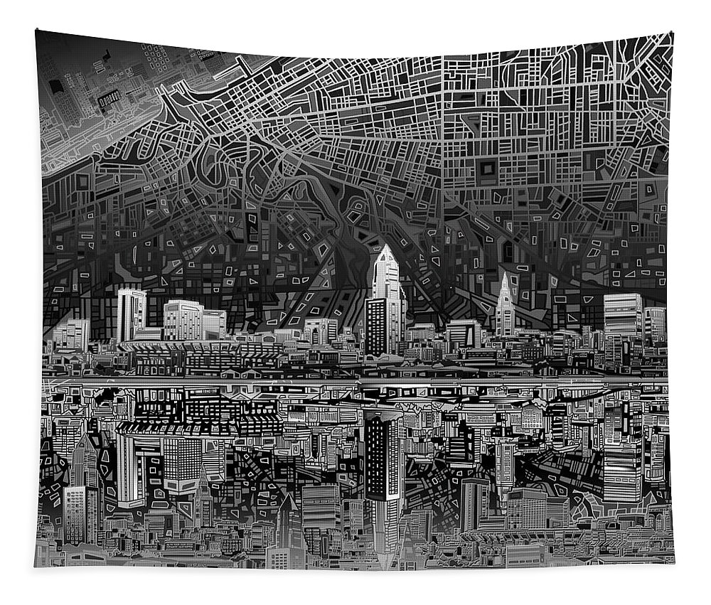 Cleveland Skyline Tapestry featuring the painting Cleveland Skyline Abstract 3 by Bekim Art