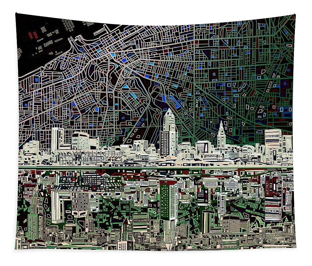 Cleveland Skyline Tapestry featuring the painting Cleveland Skyline Abstract 4 by Bekim Art