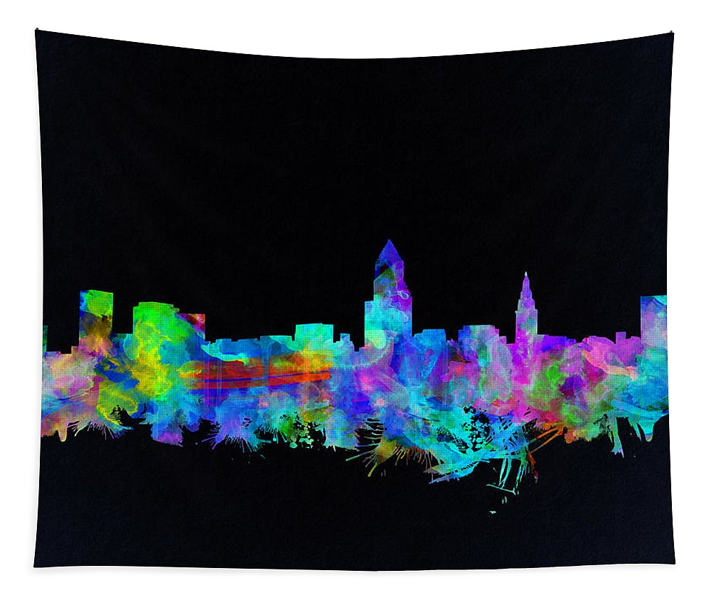 Cleveland Skyline Tapestry featuring the painting Cleveland Skyline Watercolor 3 by Bekim Art