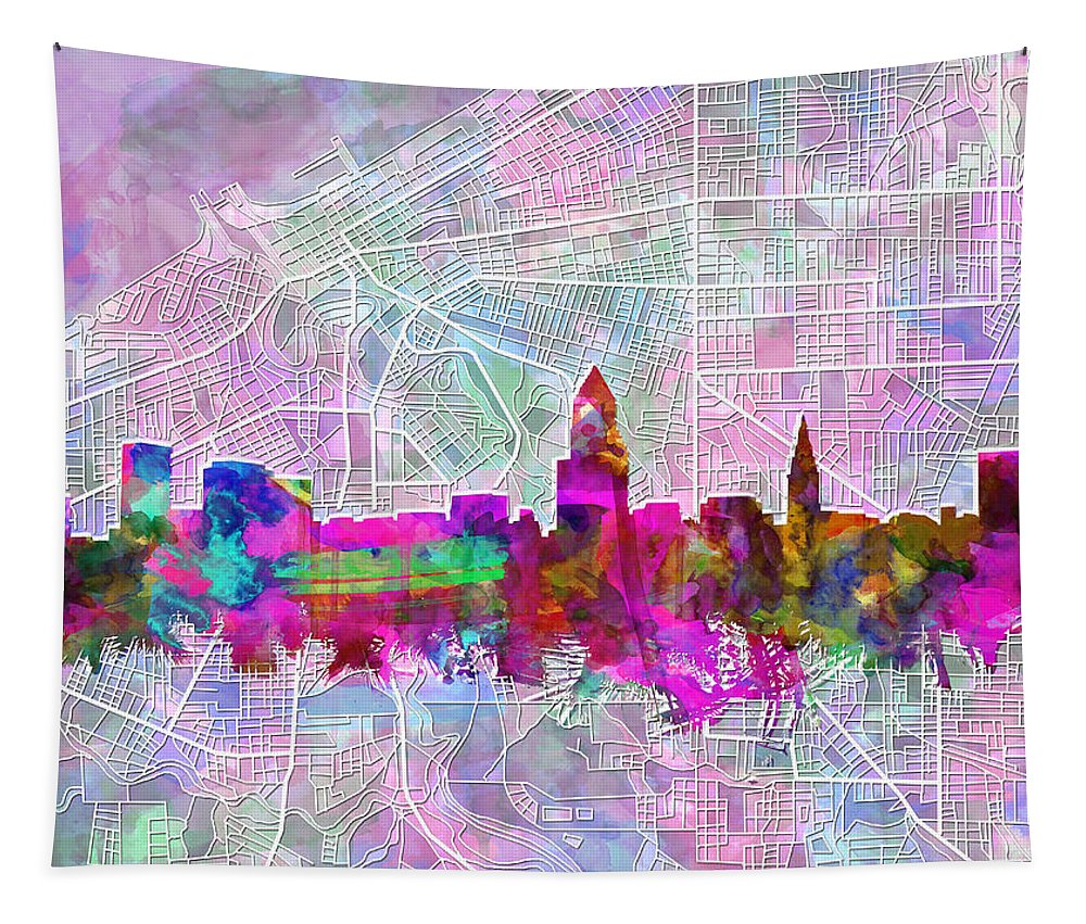 Cleveland Skyline Tapestry featuring the painting Cleveland Skyline Watercolor by Bekim Art