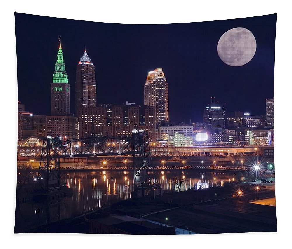 Cleveland Tapestry featuring the photograph Cleveland With Full Moon by Frozen in Time Fine Art Photography
