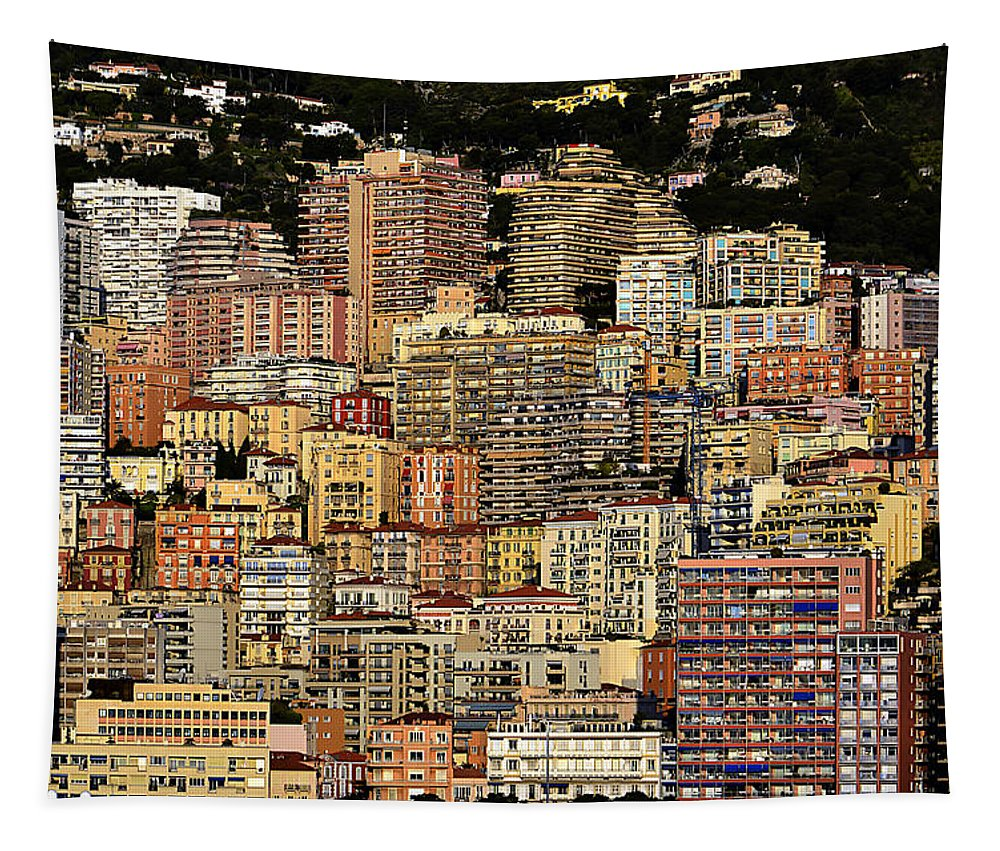 Monte Carlo Tapestry featuring the photograph Cliff Dwellers Of Monte Carlo by Richard Ortolano