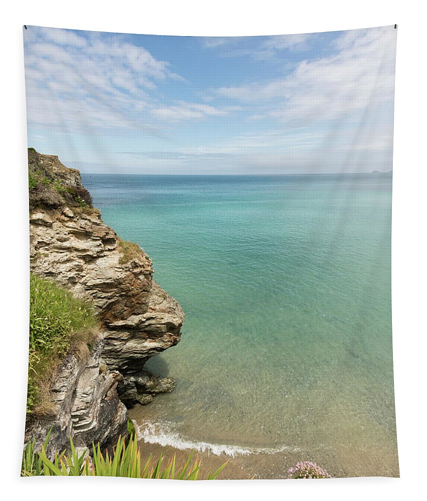 St Agnes Tapestry featuring the photograph Cliff Edge At St Agnes by Terri Waters