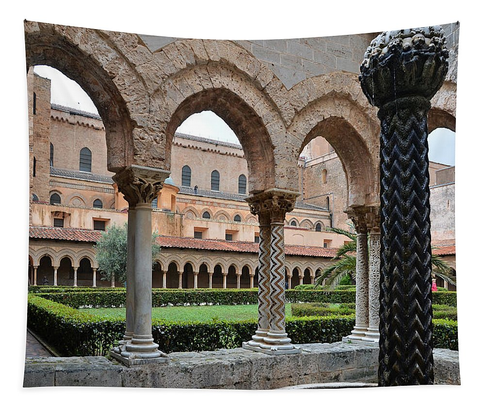 Cloister Tapestry featuring the photograph Cloister Of The Abbey Of Monreale. by RicardMN Photography