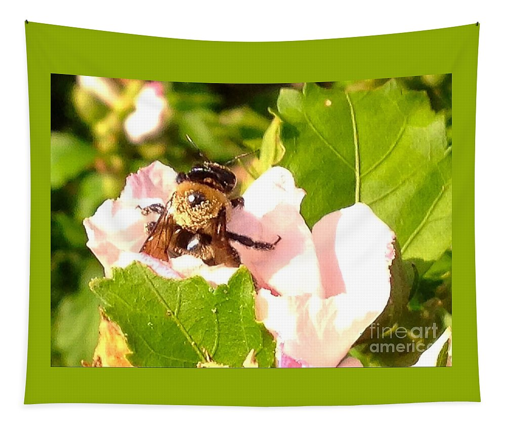Hibiscus Tapestry featuring the digital art Close Up Bumble Bee Climbing Out Of Hibiscus Flower by Debra Lynch