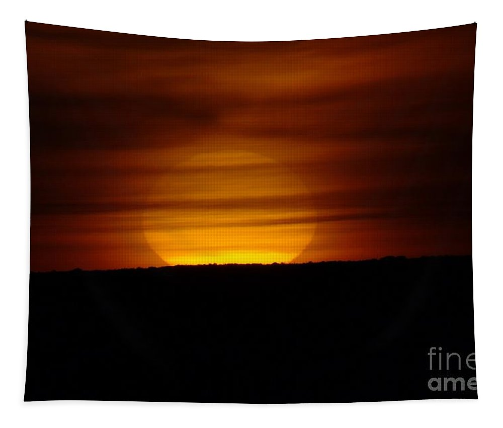 Sun Tapestry featuring the photograph Cloud Misted Sunrise by Jeff Swan