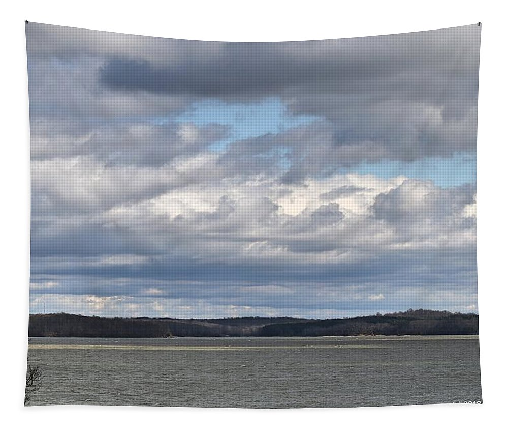 Photograph Shows The Last Of The Stormy Clouds Over Kentucky Lake. The Sun Is Peeking Through As You Can See On The Lake. Land Between The Lakes A National Recreation Area Is In The Background. Love The Clouds In This Photograph! Tapestry featuring the photograph Clouds After The Storm by Bobbie Moller