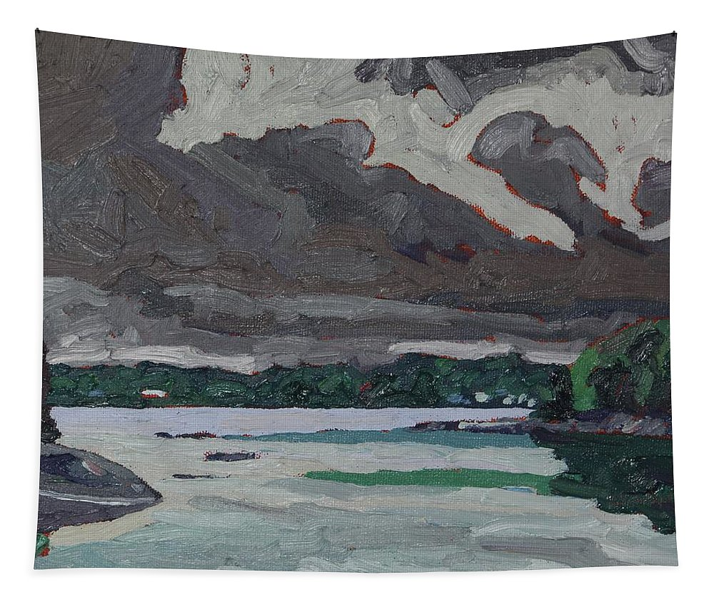 1938 Tapestry featuring the painting Clouds And Drizzle by Phil Chadwick