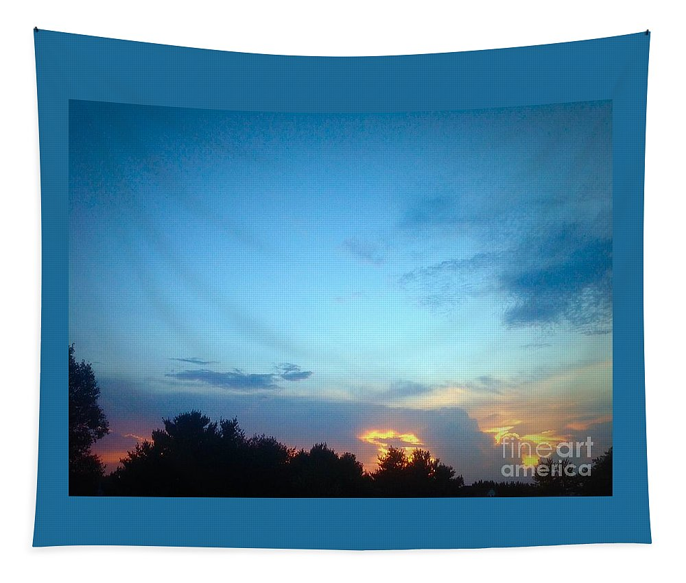 Sunset Tapestry featuring the photograph Clouds Arch Over Sunset by Debra Lynch
