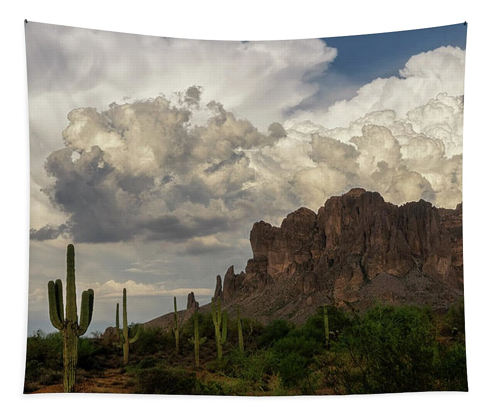 Sunset Tapestry featuring the photograph Clouds Bubbling Over The Superstitions by Saija Lehtonen