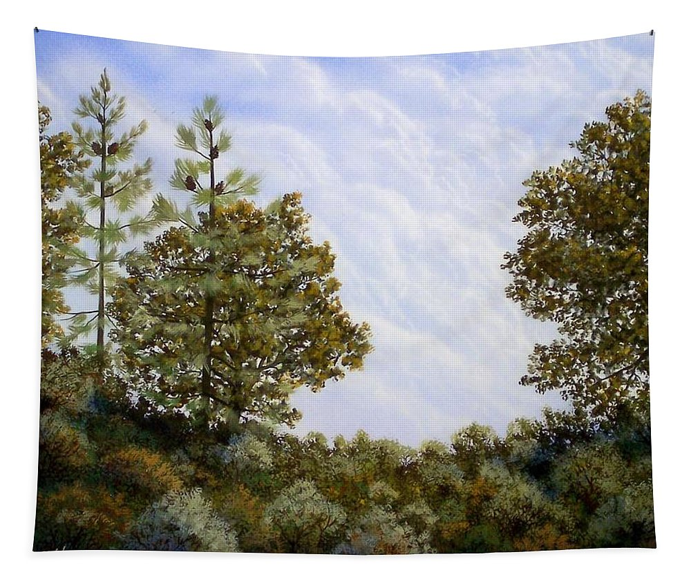 Landscape Tapestry featuring the painting Clouds In Foothills by Frank Wilson