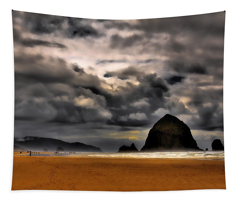Cannon Beach Tapestry featuring the photograph Clouds Over Cannon Beach by David Patterson