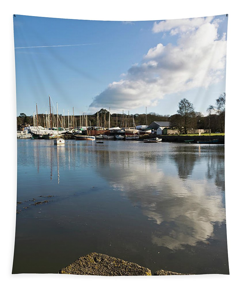 Mylor Creek Tapestry featuring the photograph Clouds Over Cockwells Boatyard Mylor Bridge by Terri Waters