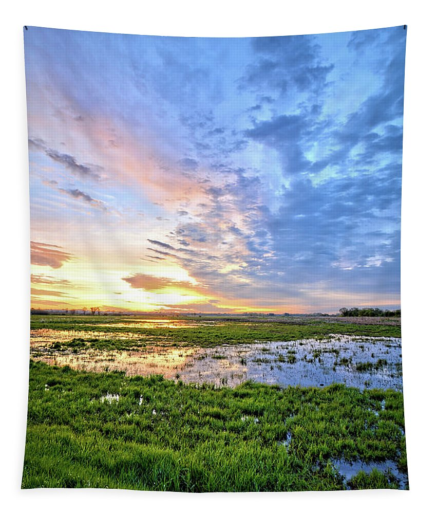 Sunrise Tapestry featuring the photograph Clouds Over The Marsh 4 by Bonfire Photography