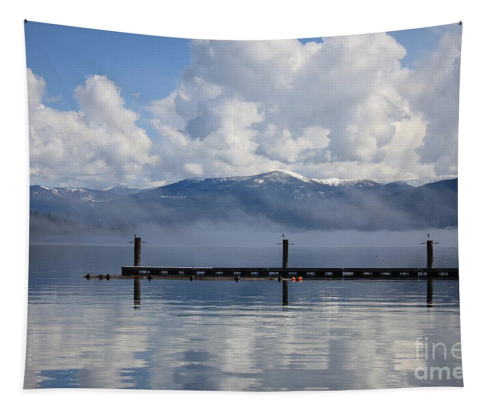 Priest Lake Tapestry featuring the photograph Clouds Reflecting Off Priest Lake by Carol Groenen