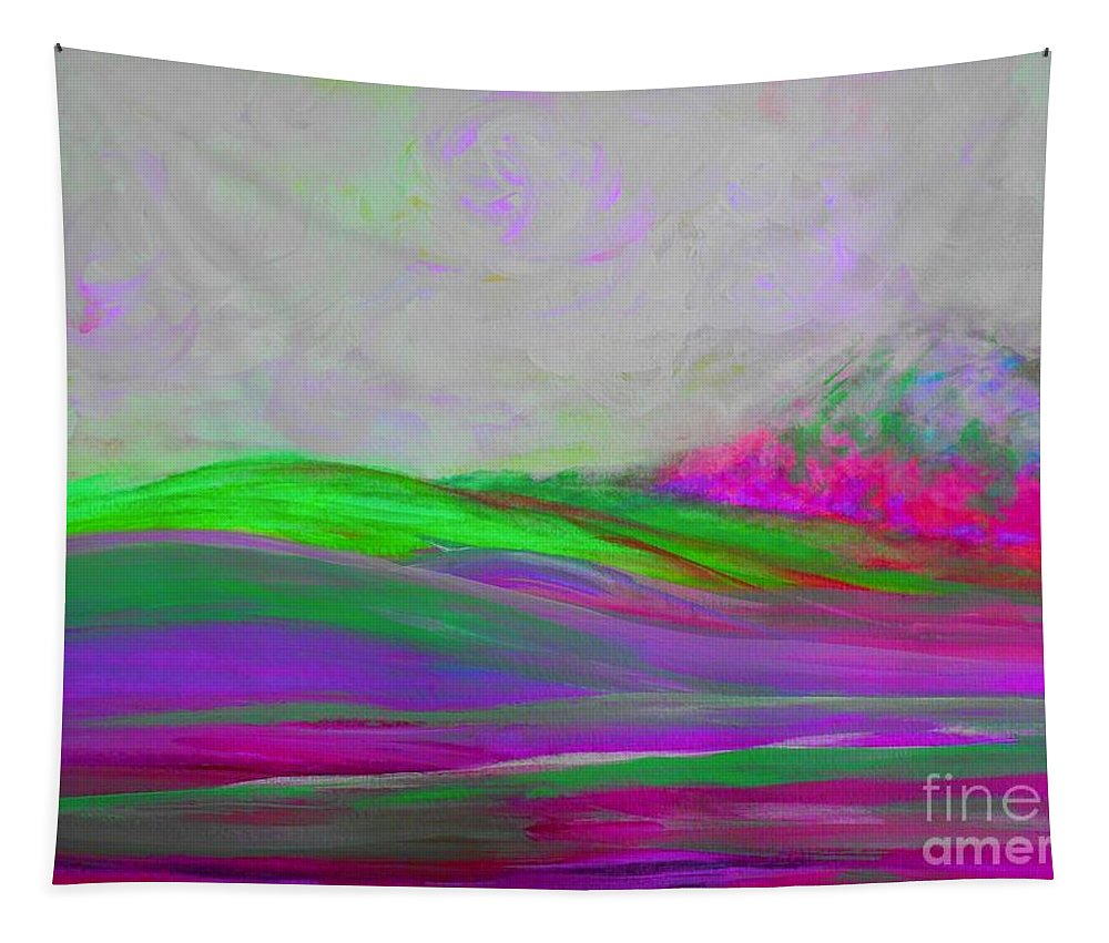Abstract Tapestry featuring the painting Clouds Rolling In Abstract Landscape Purple And Hot Pink by Eloise Schneider Mote