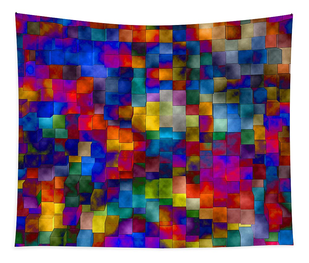 Abstract Tapestry featuring the digital art Cloudy Cubes by Ruth Palmer