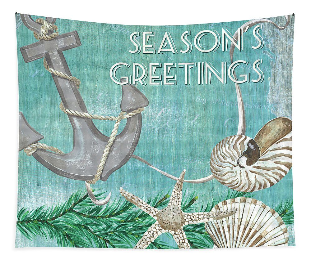Anchor Tapestry featuring the painting Coastal Christmas 4 by Debbie DeWitt