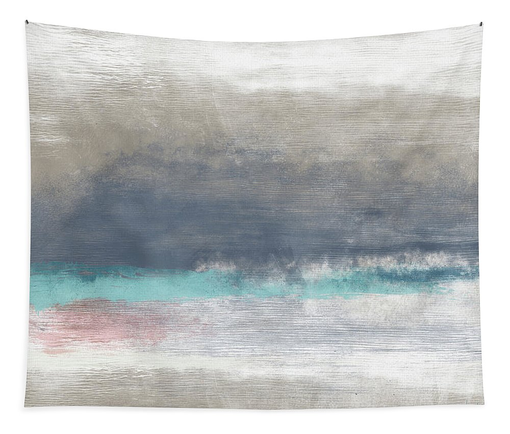 Coastal Tapestry featuring the mixed media Coastal Escape-Abstract Art by Linda Woods by Linda Woods