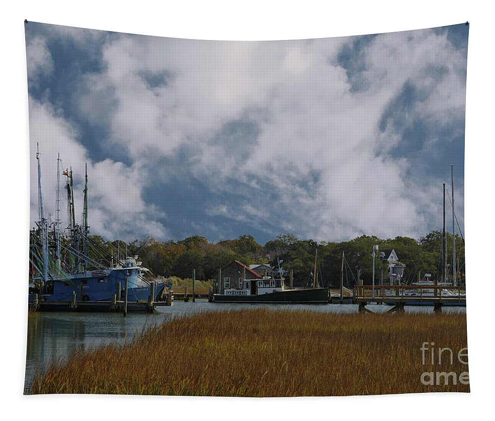Shem Creek Tapestry featuring the photograph Coastal Island Town by Dale Powell