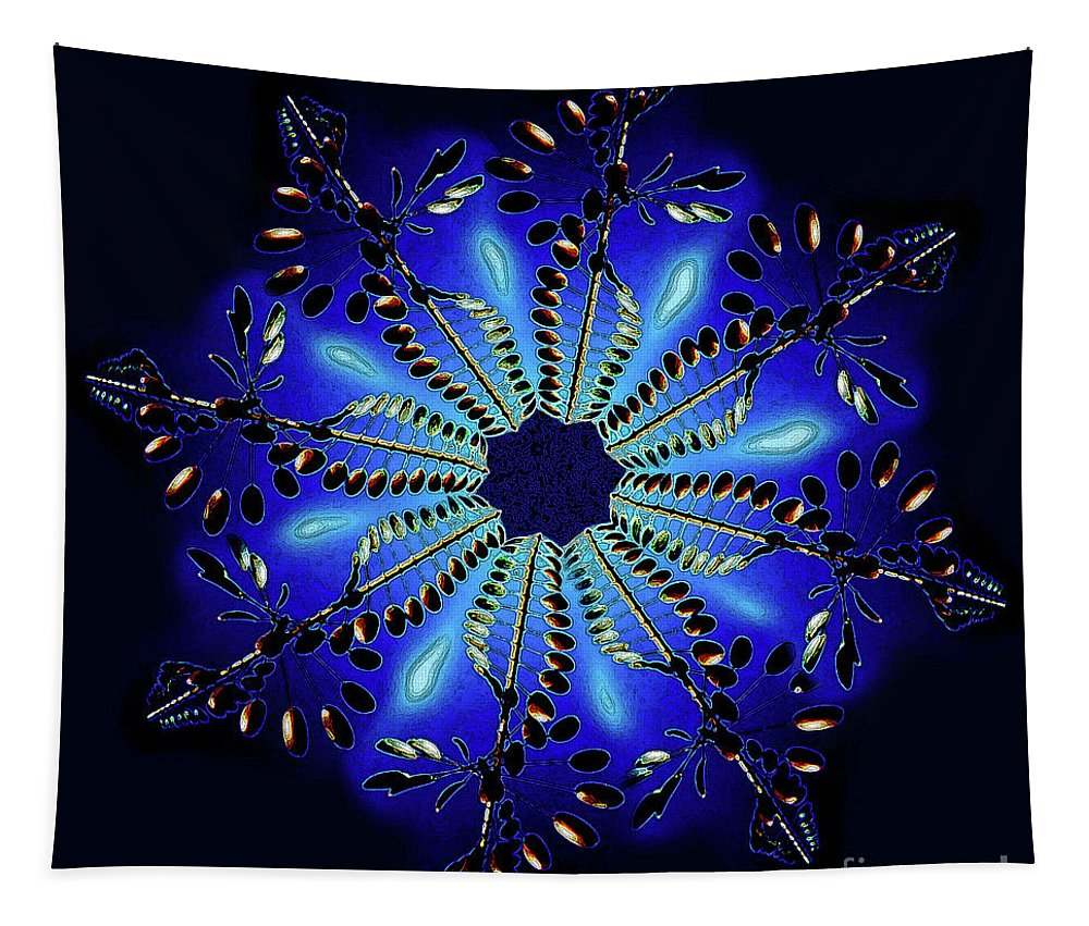 Cobalt Blue Tapestry featuring the digital art Cobalt Blue Tech Snow Flake by Andee Design