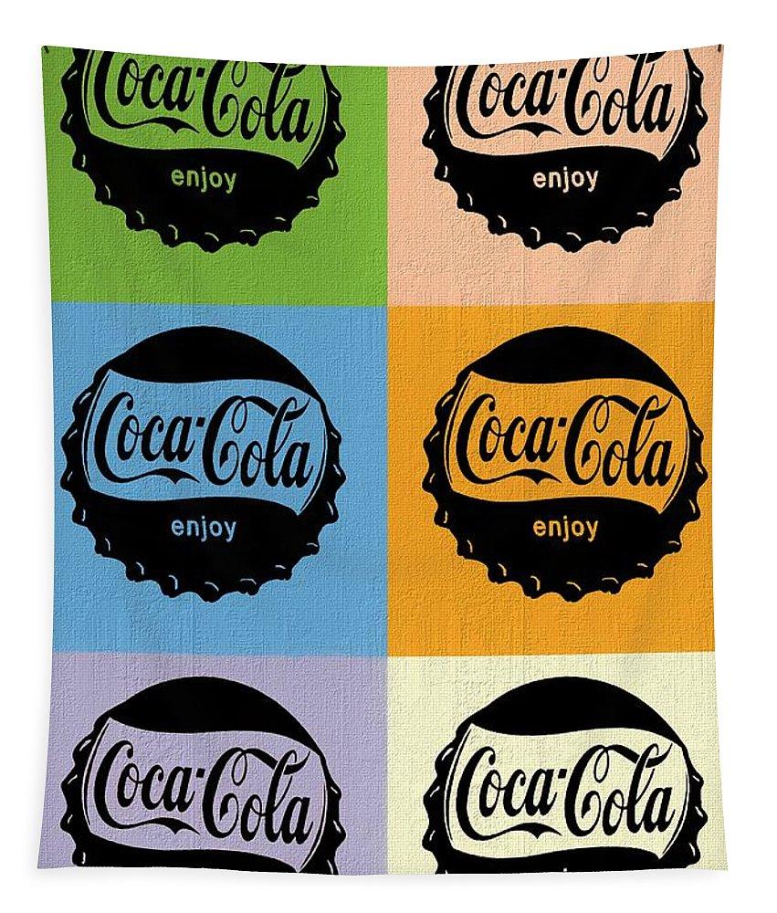 Coca Cola Bottle Cap Pop Art Tapestry featuring the mixed media Coca Cola Bottle Cap Pop Art by Dan Sproul