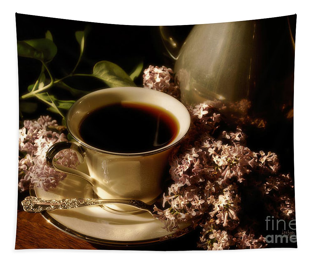 Coffee Tapestry featuring the photograph Coffee And Lilacs In The Morning by Lois Bryan