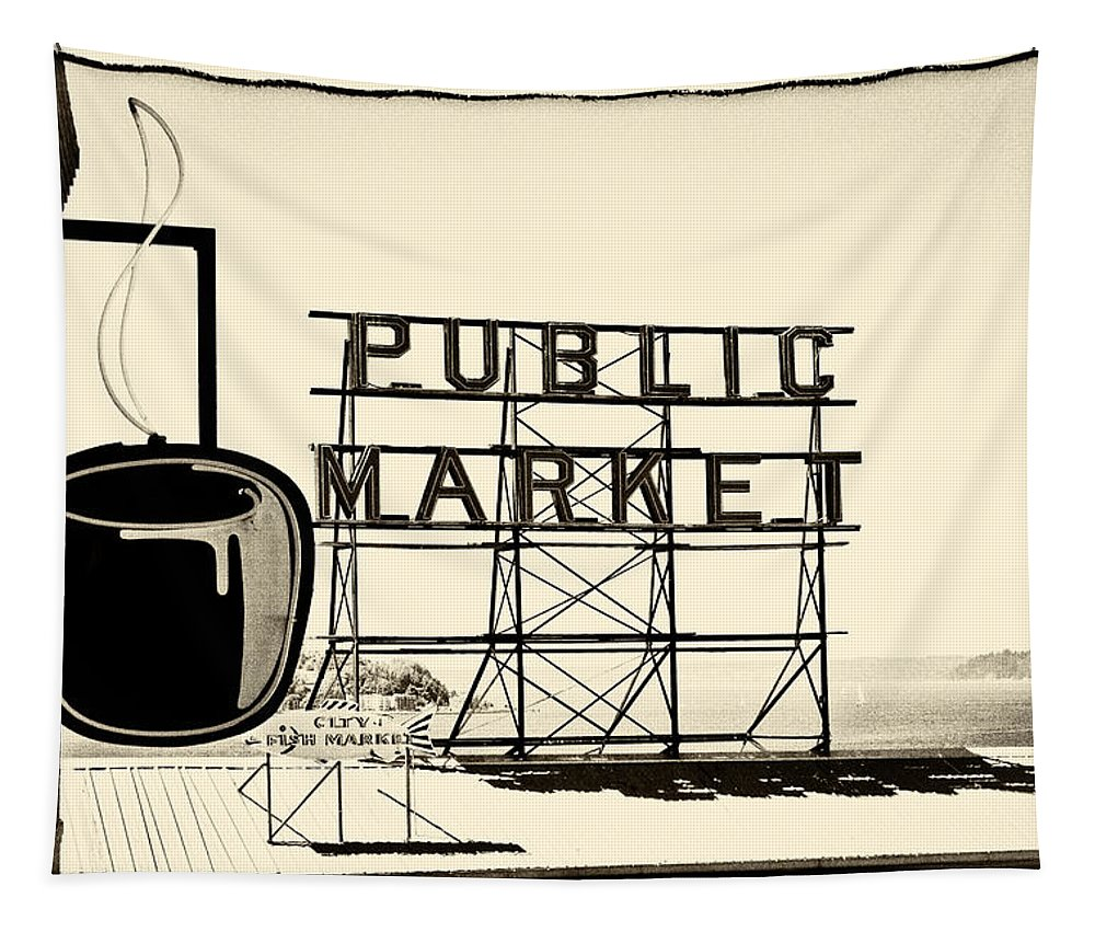 Coffee At The Market Ii Tapestry featuring the photograph Coffee At The Market II by David Patterson