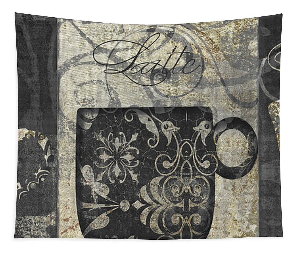 Coffee Tapestry featuring the painting Coffee Flavors Gold And Black by Mindy Sommers